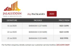 Hajj Package 2020 Singapore by Jalaluddin Travel Services