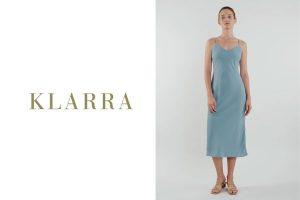 KLARRA - V Neck Slip Dress in Ocean